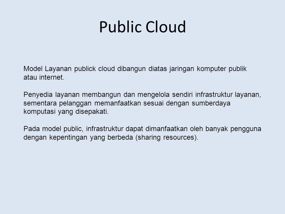 Public Cloud Model Layanan publick cloud dibangun diatas jaringan komputer publik atau internet.