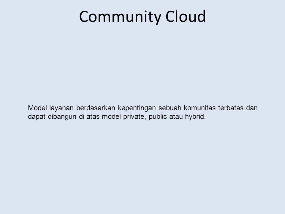 Community Cloud Model layanan berdasarkan kepentingan sebuah komunitas terbatas dan dapat dibangun di atas model private, public atau hybrid.