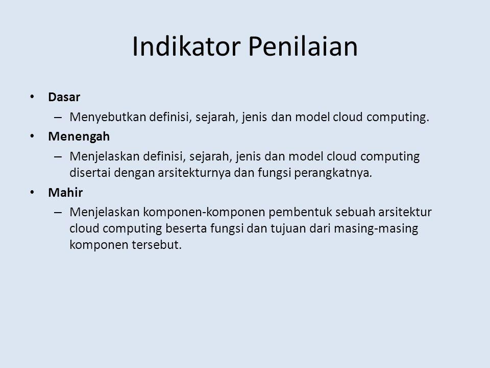 Indikator Penilaian Dasar – Menyebutkan definisi, sejarah, jenis dan model cloud computing.