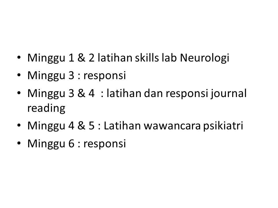 Minggu 1 & 2 latihan skills lab Neurologi Minggu 3 : responsi Minggu 3 & 4 : latihan dan responsi journal reading Minggu 4 & 5 : Latihan wawancara psikiatri Minggu 6 : responsi