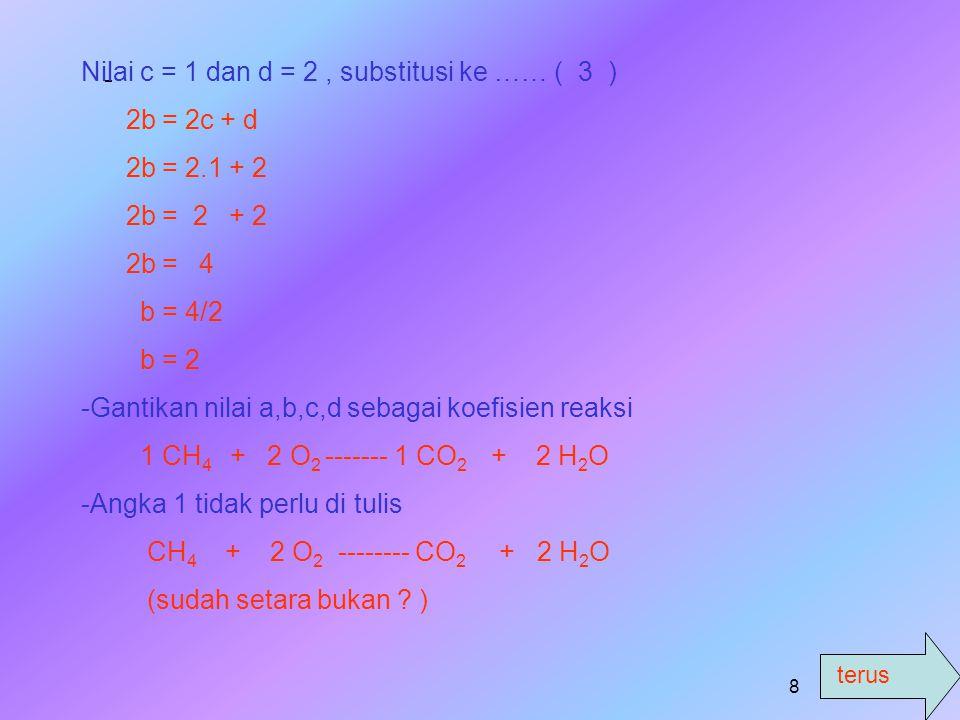 7 c.a CH 4 + b O 2 ----- c CO 2 + d H 2 O -M-Mencari persamaan untuk atom di kiri dan kanan tanda panah # Atom C : a = c ……… (1) # Atom H : 4a = 2d --