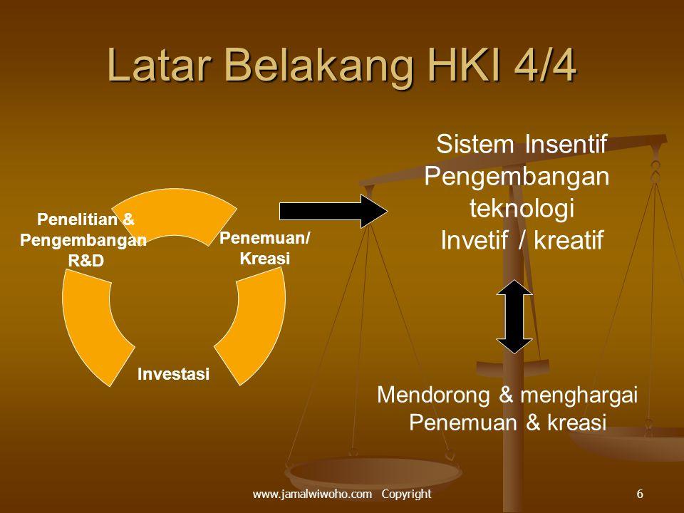 Latar Belakang HKI 4/4 Penemuan/ Kreasi Investasi Penelitian & Pengembangan R&D Sistem Insentif Pengembangan teknologi Invetif / kreatif Mendorong & menghargai Penemuan & kreasi 6www.jamalwiwoho.com Copyright
