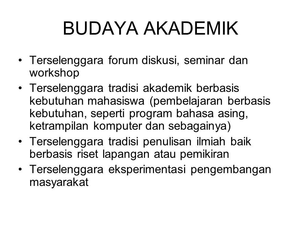 BUDAYA AKADEMIK Terselenggara forum diskusi, seminar dan workshop Terselenggara tradisi akademik berbasis kebutuhan mahasiswa (pembelajaran berbasis k