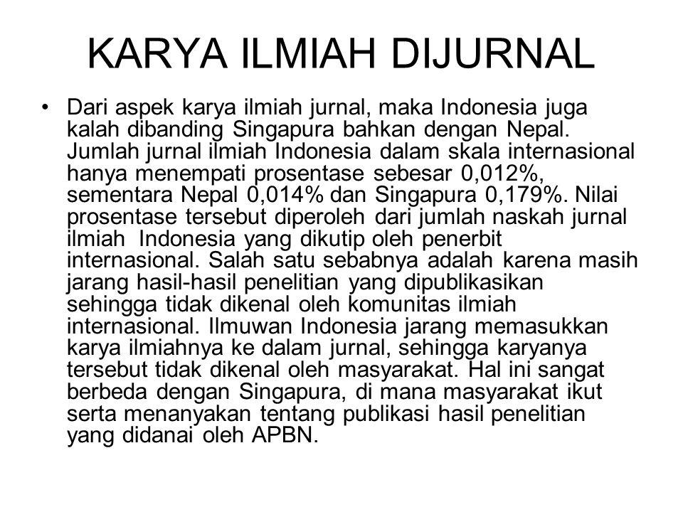 KARYA ILMIAH DIJURNAL Dari aspek karya ilmiah jurnal, maka Indonesia juga kalah dibanding Singapura bahkan dengan Nepal. Jumlah jurnal ilmiah Indonesi