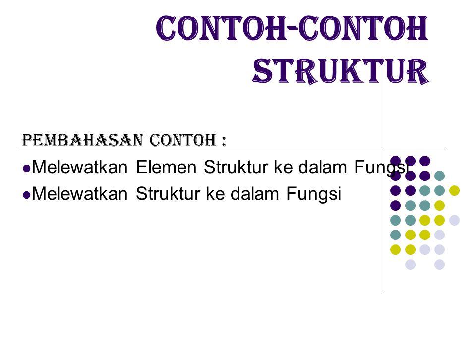 Contoh-contoh Struktur Pembahasan contoh : Melewatkan Elemen Struktur ke dalam Fungsi Melewatkan Struktur ke dalam Fungsi