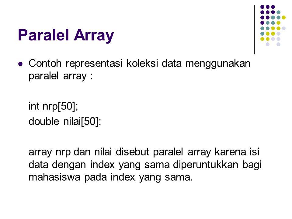 Paralel Array Contoh representasi koleksi data menggunakan paralel array : int nrp[50]; double nilai[50]; array nrp dan nilai disebut paralel array karena isi data dengan index yang sama diperuntukkan bagi mahasiswa pada index yang sama.