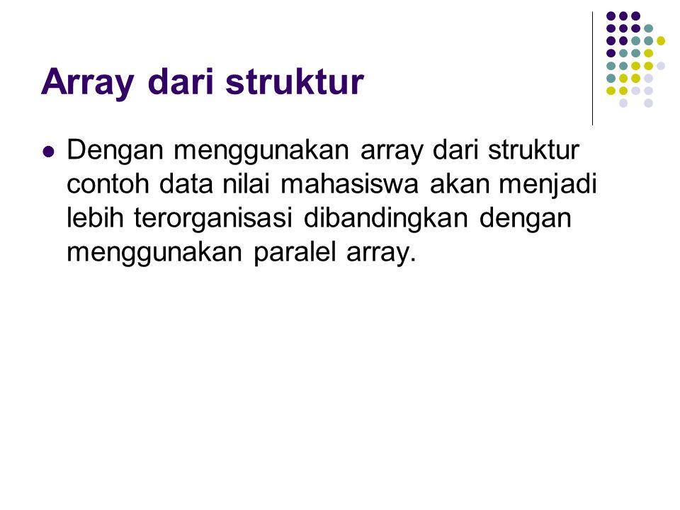 Array dari struktur Dengan menggunakan array dari struktur contoh data nilai mahasiswa akan menjadi lebih terorganisasi dibandingkan dengan menggunaka