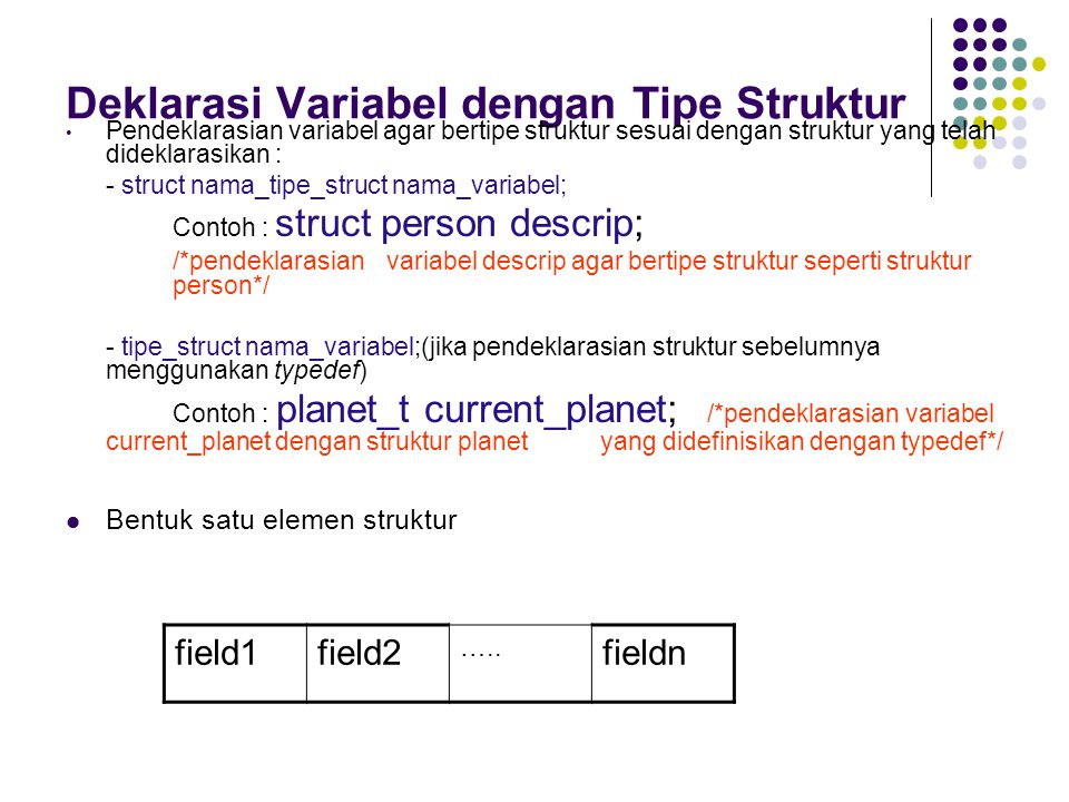 Desain (cont..) Nama struktur yang didefinisikan sendiri : complex_t Fungsi : Multiply_complex (untuk perkalian bil.