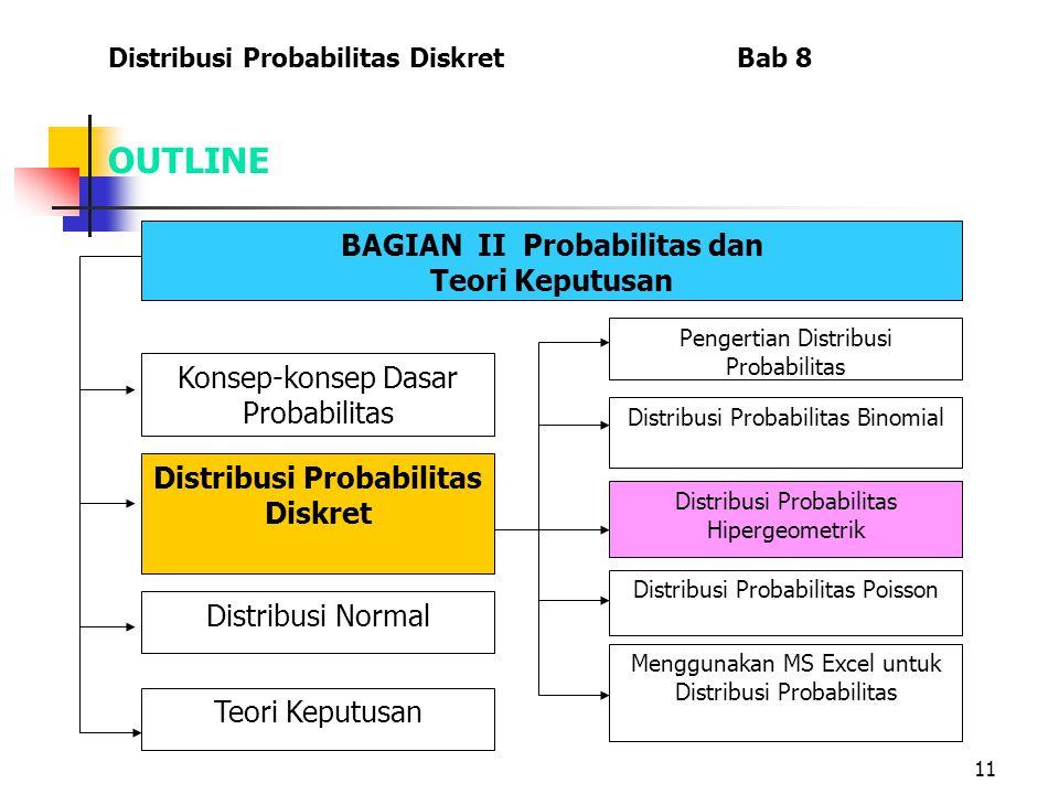11 OUTLINE Distribusi Probabilitas Diskret Bab 8 BAGIAN II Probabilitas dan Teori Keputusan Menggunakan MS Excel untuk Distribusi Probabilitas Konsep-konsep Dasar Probabilitas Distribusi Probabilitas Diskret Distribusi Normal Teori Keputusan Pengertian Distribusi Probabilitas Distribusi Probabilitas Binomial Distribusi Probabilitas Hipergeometrik Distribusi Probabilitas Poisson