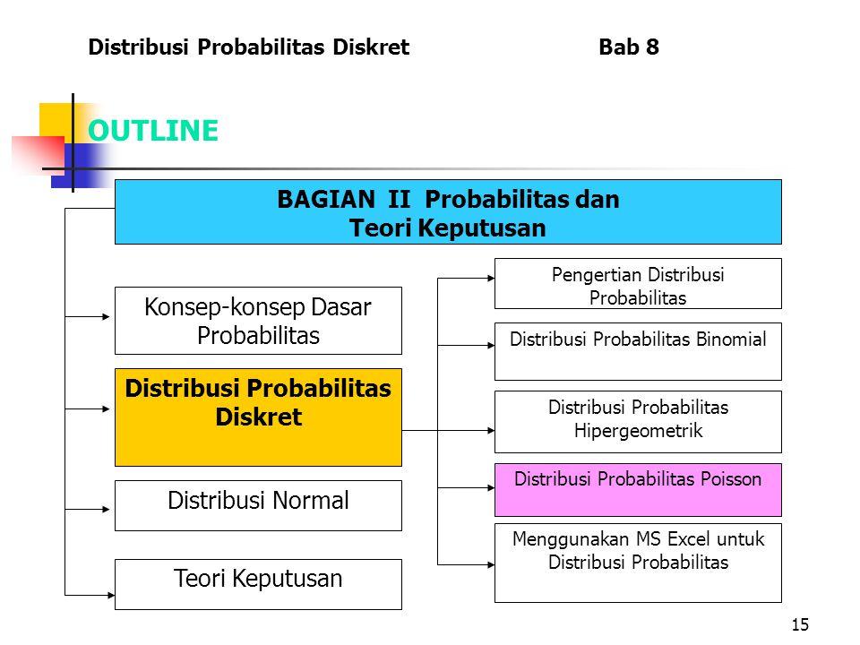 15 OUTLINE Distribusi Probabilitas Diskret Bab 8 BAGIAN II Probabilitas dan Teori Keputusan Menggunakan MS Excel untuk Distribusi Probabilitas Konsep-konsep Dasar Probabilitas Distribusi Probabilitas Diskret Distribusi Normal Teori Keputusan Pengertian Distribusi Probabilitas Distribusi Probabilitas Binomial Distribusi Probabilitas Hipergeometrik Distribusi Probabilitas Poisson