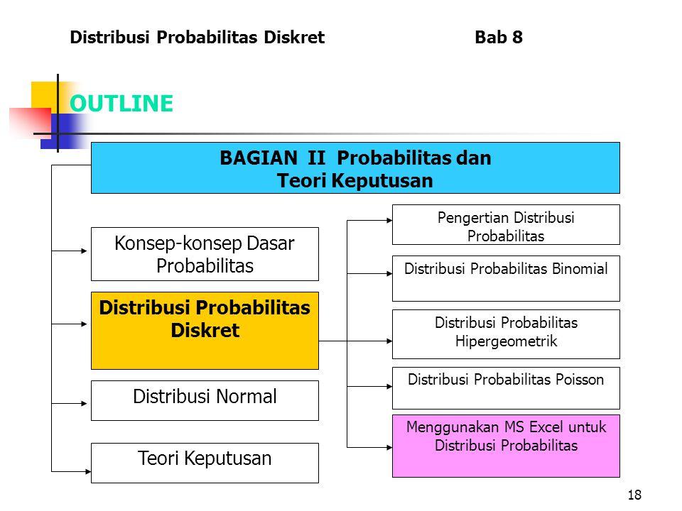 18 OUTLINE Distribusi Probabilitas Diskret Bab 8 BAGIAN II Probabilitas dan Teori Keputusan Menggunakan MS Excel untuk Distribusi Probabilitas Konsep-konsep Dasar Probabilitas Distribusi Probabilitas Diskret Distribusi Normal Teori Keputusan Pengertian Distribusi Probabilitas Distribusi Probabilitas Binomial Distribusi Probabilitas Hipergeometrik Distribusi Probabilitas Poisson