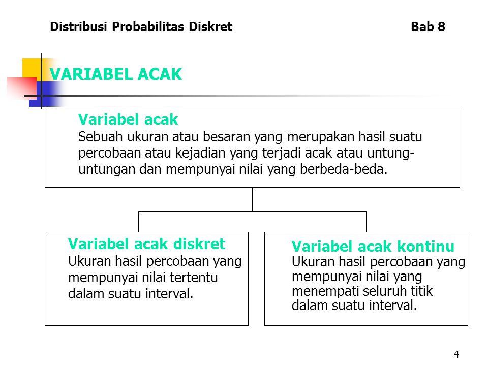 4 VARIABEL ACAK Variabel acak Sebuah ukuran atau besaran yang merupakan hasil suatu percobaan atau kejadian yang terjadi acak atau untung- untungan dan mempunyai nilai yang berbeda-beda.