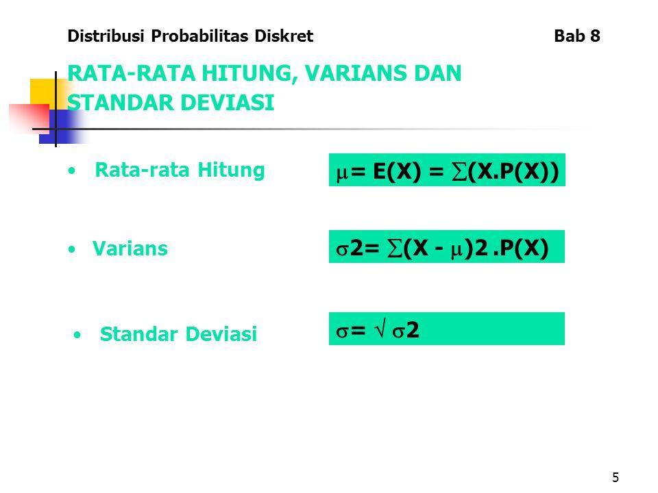 5 RATA-RATA HITUNG, VARIANS DAN STANDAR DEVIASI Varians Distribusi Probabilitas Diskret Bab 8 Rata-rata Hitung Standar Deviasi  = E(X) =  (X.P(X))  2=  (X -  )2.P(X)  =   2