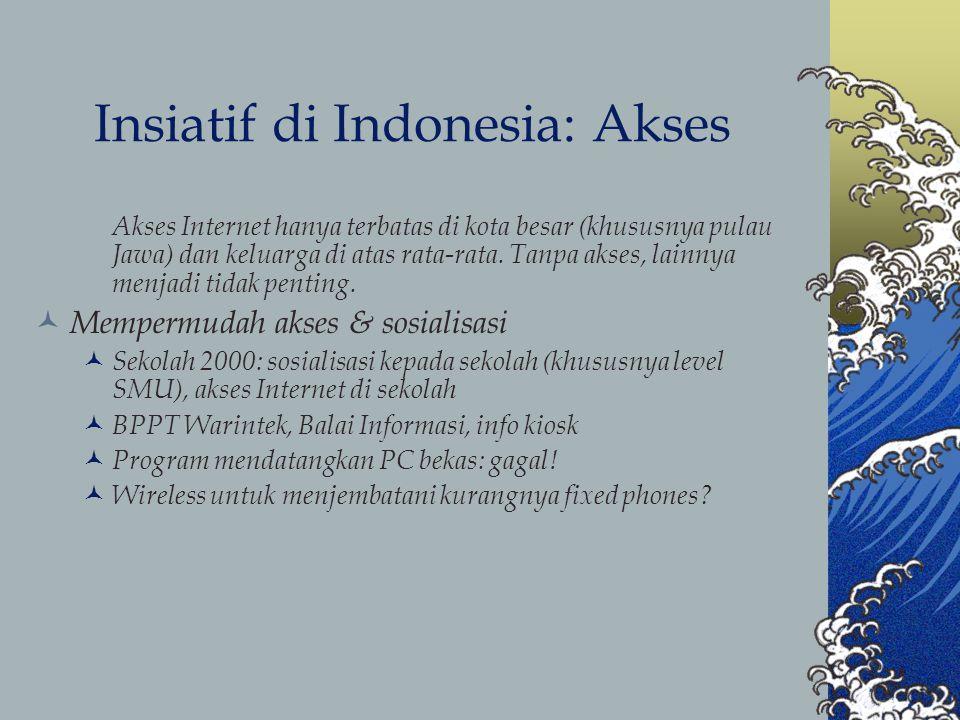 Insiatif di Indonesia: Akses Akses Internet hanya terbatas di kota besar (khususnya pulau Jawa) dan keluarga di atas rata-rata.