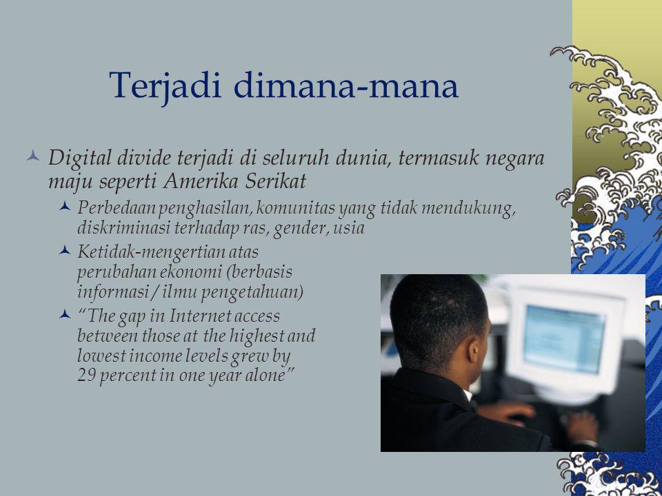 Sumber masalah Sumber masalah antara lain: Kesulitan akses (infrastruktur listrik, telekomunikasi, perangkat) Kekurangan skill (SDM, komunitas) Kekurangan isi / materi (content) Kurangnya (tidak adanya) insentif dari pemerintah