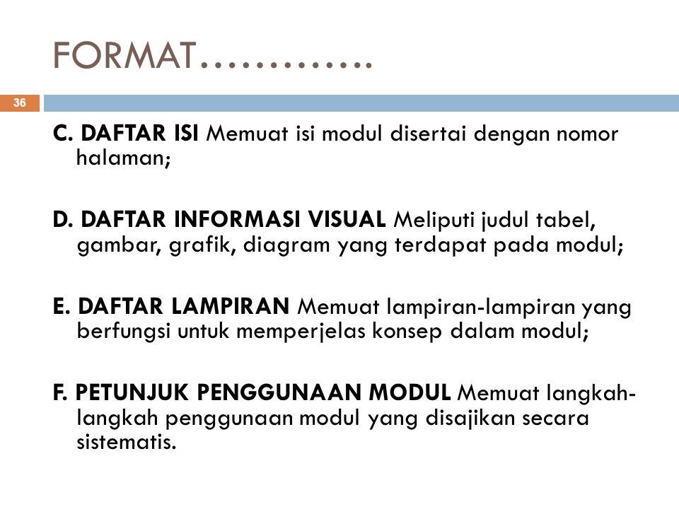 FORMAT…………. C. DAFTAR ISI Memuat isi modul disertai dengan nomor halaman; D. DAFTAR INFORMASI VISUAL Meliputi judul tabel, gambar, grafik, diagram yan