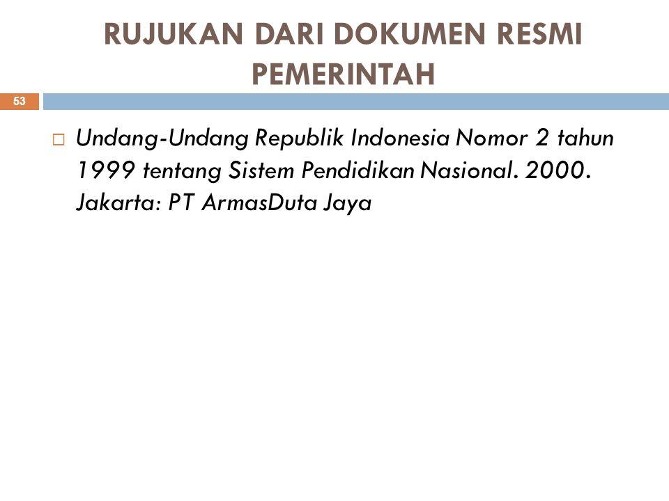 RUJUKAN DARI DOKUMEN RESMI PEMERINTAH  Undang-Undang Republik Indonesia Nomor 2 tahun 1999 tentang Sistem Pendidikan Nasional. 2000. Jakarta: PT Arma