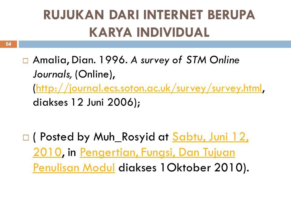 RUJUKAN DARI INTERNET BERUPA KARYA INDIVIDUAL  Amalia, Dian. 1996. A survey of STM Online Journals, (Online), (http://journal.ecs.soton.ac.uk/survey/