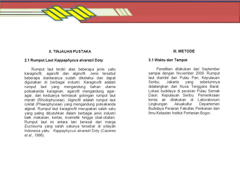 II. TINJAUAN PUSTAKA 2.1 Rumput Laut Kappaphycus alvarezii Doty Rumput laut terdiri atas beberapa jenis yaitu karaginofit, agarofit dan alginofit. Jen