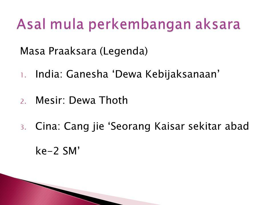 Masa Praaksara (Legenda) 1. India: Ganesha 'Dewa Kebijaksanaan' 2. Mesir: Dewa Thoth 3. Cina: Cang jie 'Seorang Kaisar sekitar abad ke-2 SM'