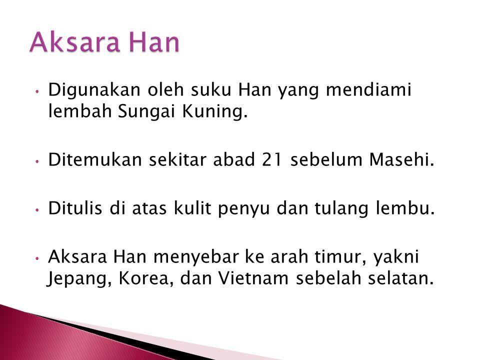 1.Aksara Han masuk ke Jepang abad ke-5 saat terjadi kontak perdagangan.