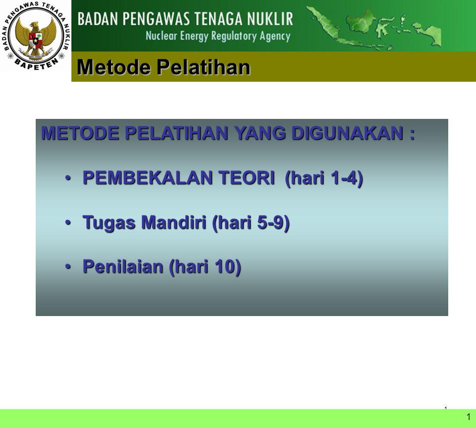 1 TIM PENGAJAR  BATAN (Dr. Evvy Kartini)  BAPETEN:  Dr. Azizul Khakim  Dr. Yus Rusdian A  Yusri Heni, M.Eng.  Aris Sanyoto, Sp1.  Budi Rohman,