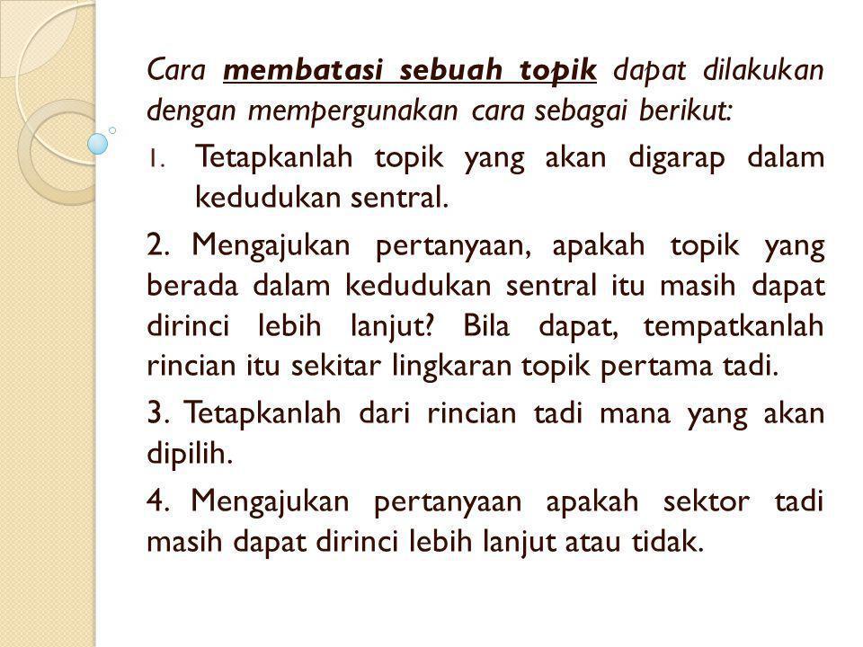Cara membatasi sebuah topik dapat dilakukan dengan mempergunakan cara sebagai berikut: 1. Tetapkanlah topik yang akan digarap dalam kedudukan sentral.