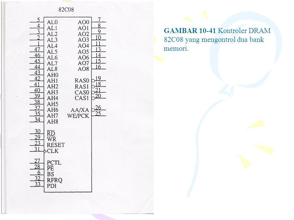 GAMBAR 10-41 Kontroler DRAM 82C08 yang mengontrol dua bank memori.