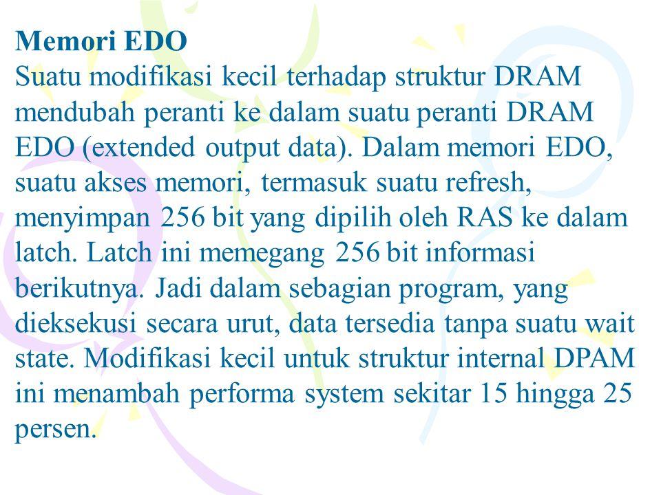 Memori EDO Suatu modifikasi kecil terhadap struktur DRAM mendubah peranti ke dalam suatu peranti DRAM EDO (extended output data). Dalam memori EDO, su