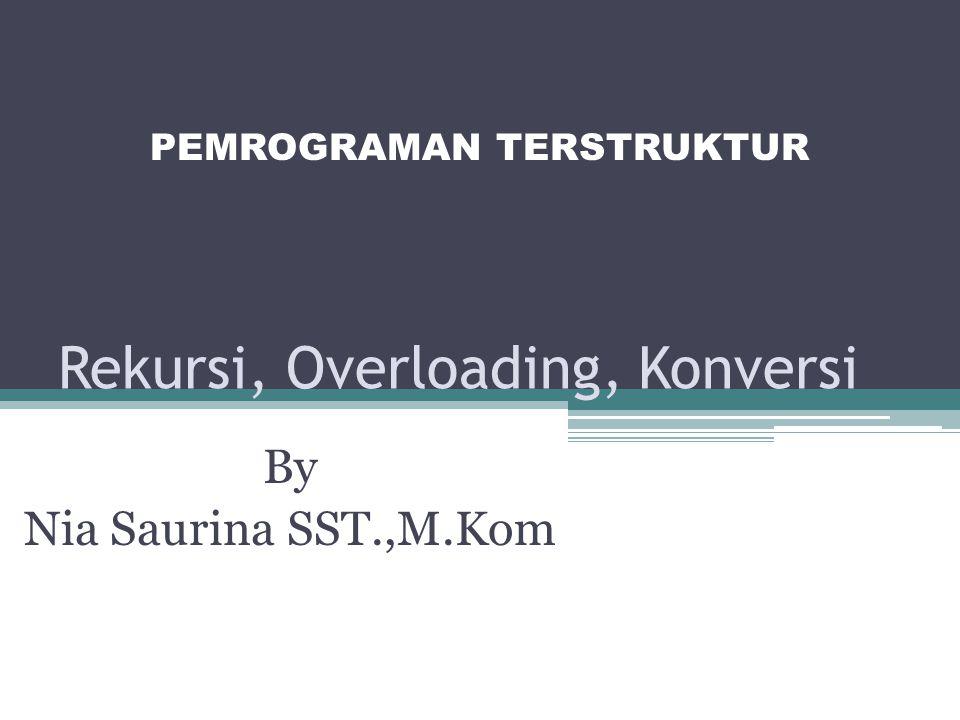 Rekursi, Overloading, Konversi By Nia Saurina SST.,M.Kom PEMROGRAMAN TERSTRUKTUR