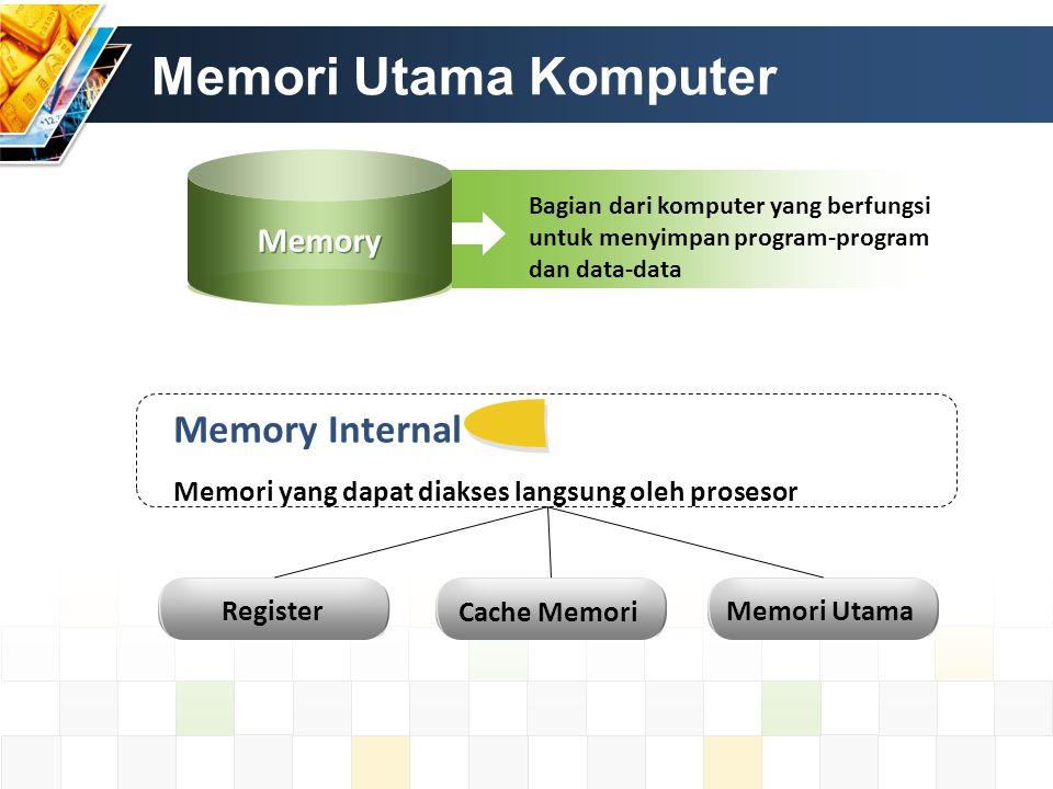 Memori Utama Komputer Memory Internal Memori yang dapat diakses langsung oleh prosesor Register Cache Memori Memori Utama Bagian dari komputer yang be