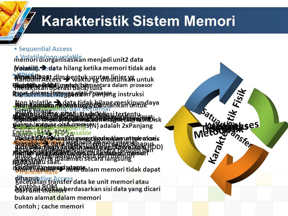 Karakteristik Sistem Memori Lokasi CPU Register : sebagai memori sementara dalam prosesor Dapat diakses langsung oleh Prosesor Internal (main) Memori yang berada diluar CPU(prosesor) tapi dapat diakses langsung oleh prosesor Contoh : RAM, ROM Eksternal Memori yang dapat diakses CPU(prosesor) melalui piranti I/O Contoh : Harddisk, FlasDisk Kapasitas Memori Internal dan Eksternal Kapasitas: dinyatakan dalam bentuk byte (1byte = 8 bit) atau word.