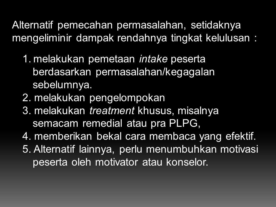 1.Intake peserta Peserta PLPG adalah guru yang memilih : a) sertifikasi pola PLPG, b) tidak lulus penilaian portofolio, atau tidak lulus verifikasi be