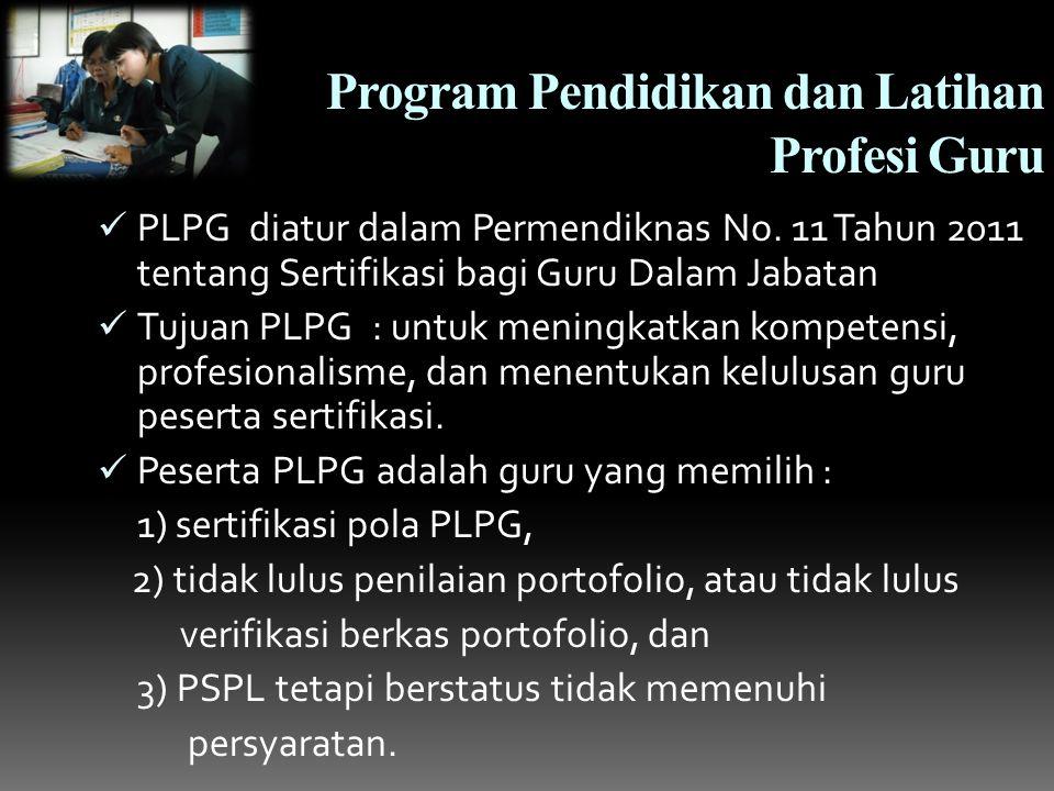 Program Pendidikan dan Latihan Profesi Guru PLPG diatur dalam Permendiknas No.