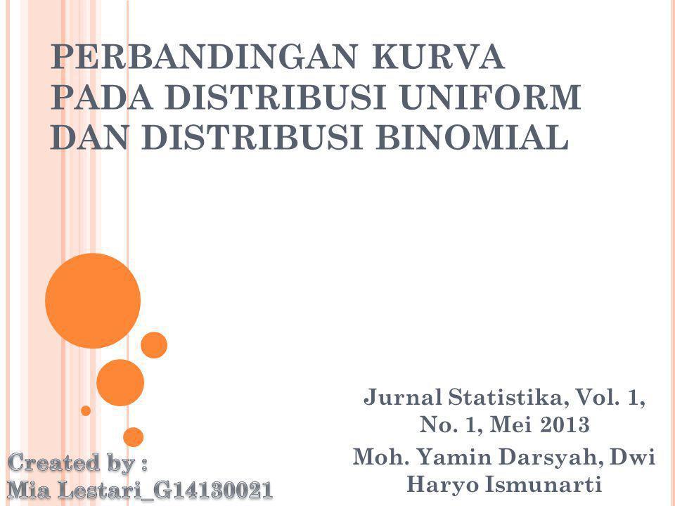 PERBANDINGAN KURVA PADA DISTRIBUSI UNIFORM DAN DISTRIBUSI BINOMIAL Jurnal Statistika, Vol. 1, No. 1, Mei 2013 Moh. Yamin Darsyah, Dwi Haryo Ismunarti
