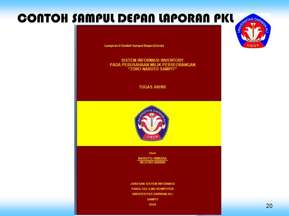 CONTOH SAMPUL DEPAN LAPORAN PKL 20
