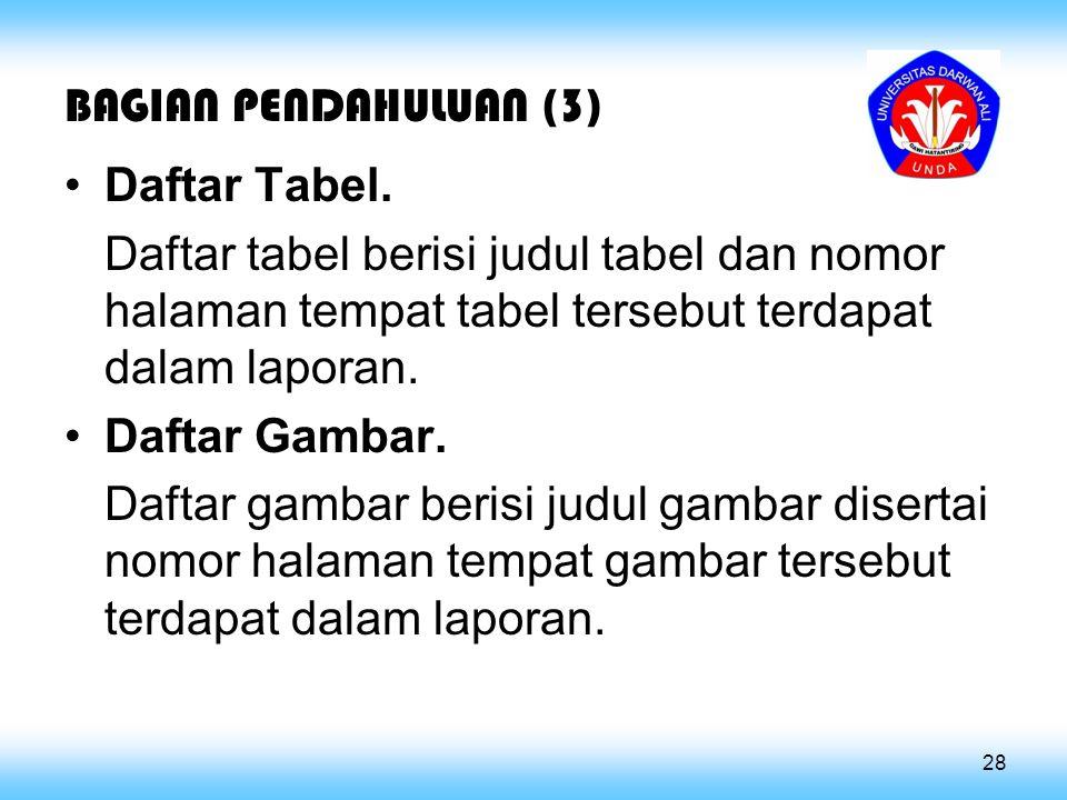 BAGIAN PENDAHULUAN (3) Daftar Tabel.
