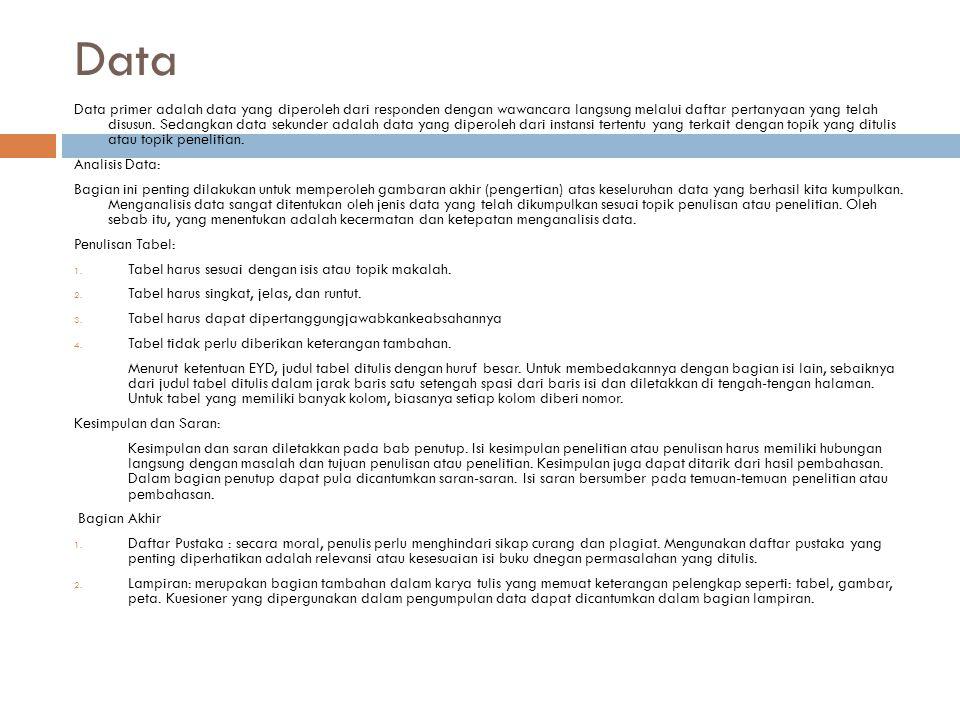 Data Data primer adalah data yang diperoleh dari responden dengan wawancara langsung melalui daftar pertanyaan yang telah disusun. Sedangkan data seku