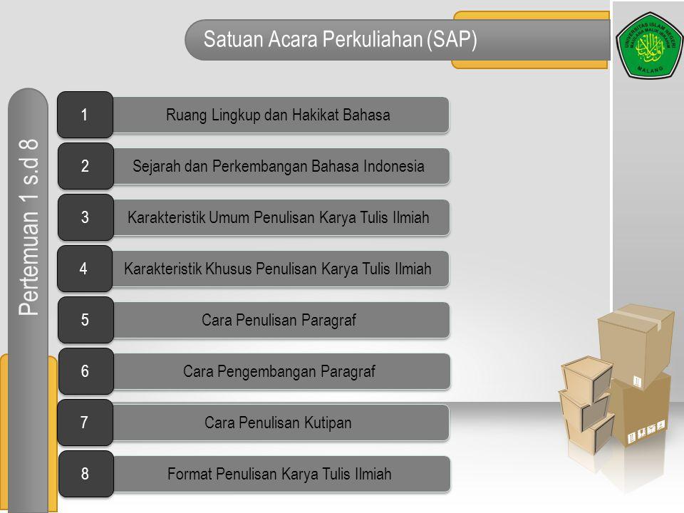 Satuan Acara Perkuliahan (SAP) Pertemuan 1 s.d 8 Ruang Lingkup dan Hakikat Bahasa 1 1 Sejarah dan Perkembangan Bahasa Indonesia 2 2 Karakteristik Umum
