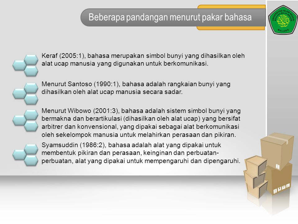 Beberapa pandangan menurut pakar bahasa Keraf (2005:1), bahasa merupakan simbol bunyi yang dihasilkan oleh alat ucap manusia yang digunakan untuk berk