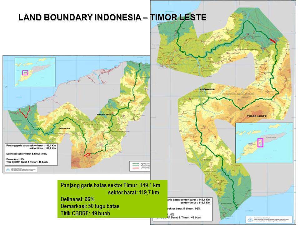 LAND BOUNDARY INDONESIA – TIMOR LESTE Panjang garis batas sektor Timur: 149,1 km sektor barat: 119,7 km Delineasi: 96% Demarkasi: 50 tugu batas Titik