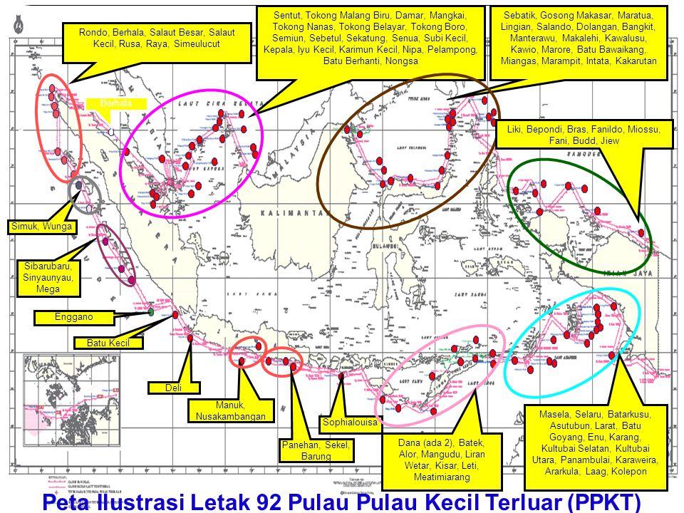 Peta Ilustrasi Letak 92 Pulau Pulau Kecil Terluar (PPKT) Sentut, Tokong Malang Biru, Damar, Mangkai, Tokong Nanas, Tokong Belayar, Tokong Boro, Semiun
