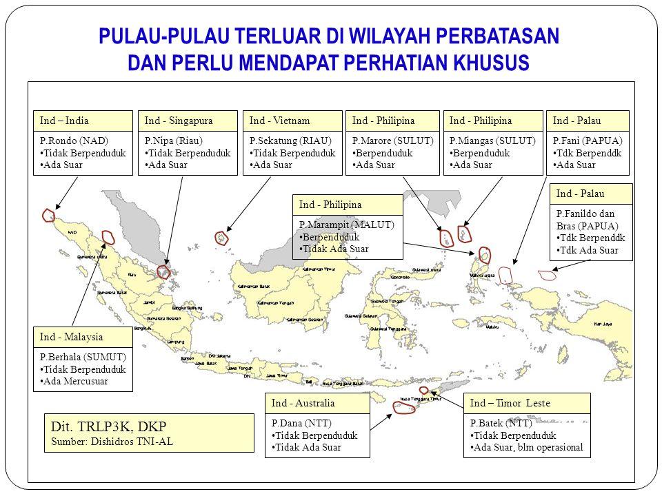 PULAU-PULAU TERLUAR DI WILAYAH PERBATASAN DAN PERLU MENDAPAT PERHATIAN KHUSUS Ind – India P.Rondo (NAD) Tidak Berpenduduk Ada Suar Ind - Malaysia P.Be