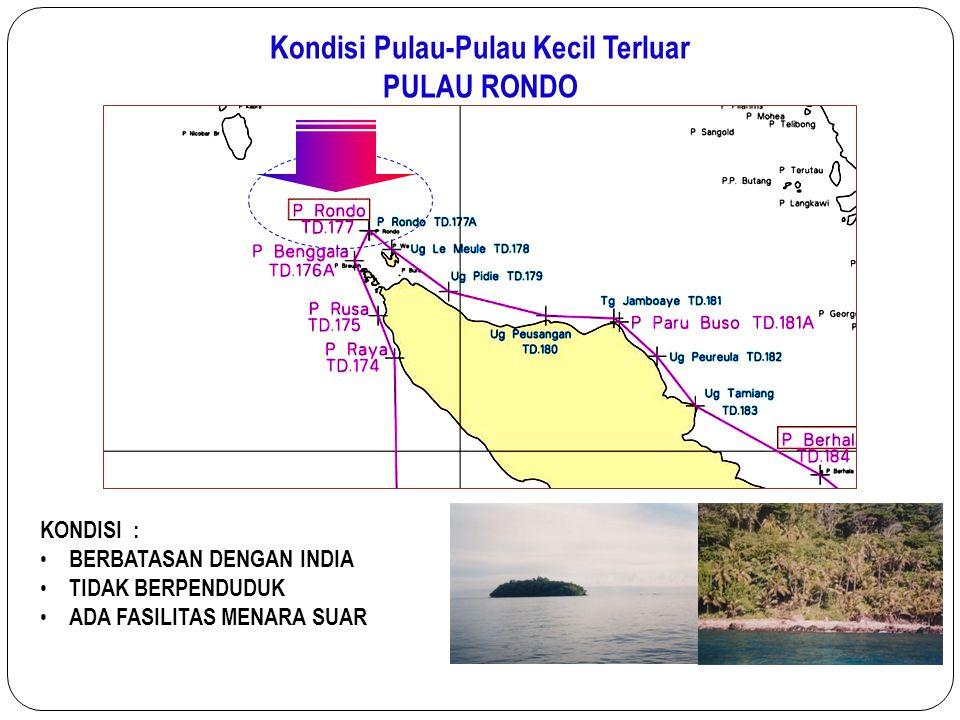 Kondisi Pulau-Pulau Kecil Terluar PULAU RONDO KONDISI : BERBATASAN DENGAN INDIA TIDAK BERPENDUDUK ADA FASILITAS MENARA SUAR