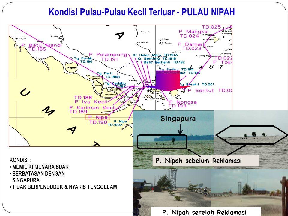 Kondisi Pulau-Pulau Kecil Terluar - PULAU NIPAH KONDISI : MEMILIKI MENARA SUAR BERBATASAN DENGAN SINGAPURA TIDAK BERPENDUDUK & NYARIS TENGGELAM Singap