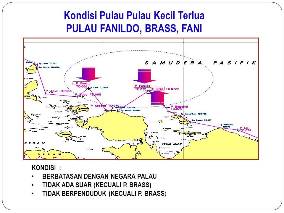 KONDISI : BERBATASAN DENGAN NEGARA PALAU TIDAK ADA SUAR (KECUALI P. BRASS) TIDAK BERPENDUDUK (KECUALI P. BRASS ) Kondisi Pulau Pulau Kecil Terlua PULA