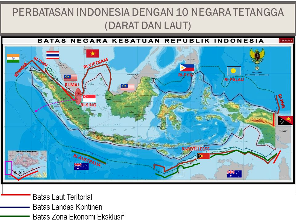 PERBATASAN INDONESIA DENGAN 10 NEGARA TETANGGA (DARAT DAN LAUT) RI-VIETNAM RI-INDIA RI-THAI RI-MAL RI-AUSTRALIA RI-PNG RI-SIN RI-MAL RI-PNG Batas Laut