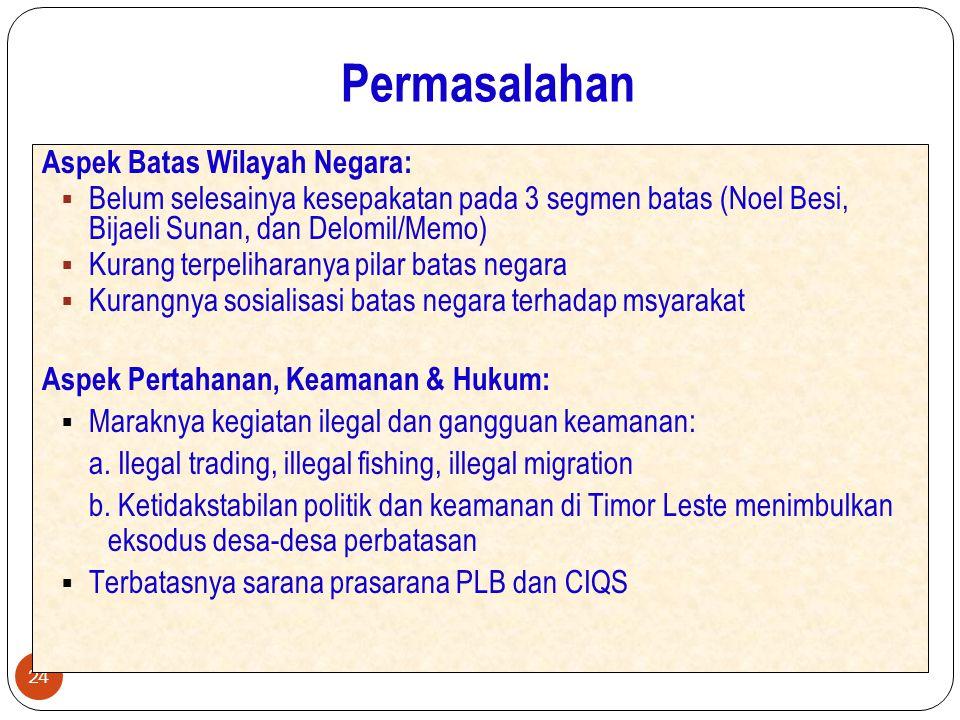 Permasalahan 24 Aspek Batas Wilayah Negara:  Belum selesainya kesepakatan pada 3 segmen batas (Noel Besi, Bijaeli Sunan, dan Delomil/Memo)  Kurang t
