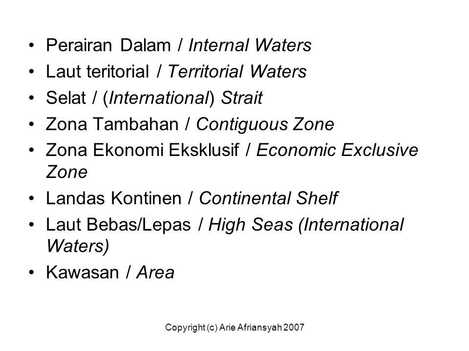 Perairan Dalam / Internal Waters Laut teritorial / Territorial Waters Selat / (International) Strait Zona Tambahan / Contiguous Zone Zona Ekonomi Eksk