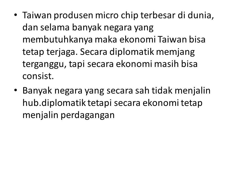 Taiwan produsen micro chip terbesar di dunia, dan selama banyak negara yang membutuhkanya maka ekonomi Taiwan bisa tetap terjaga. Secara diplomatik me